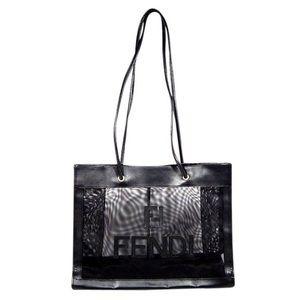 Authentic Fendi Black Leather Transparent Tote